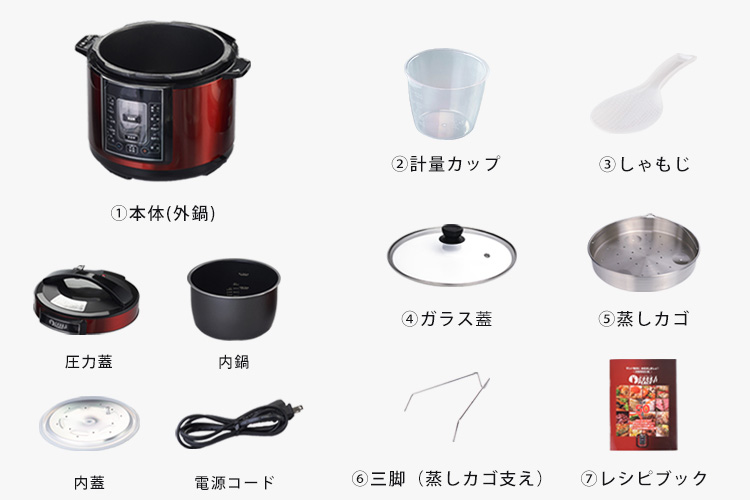 �@本体(外鍋)、内鍋、圧力蓋、内蓋、電源コード、�A軽量カップ、�Bしゃもじ